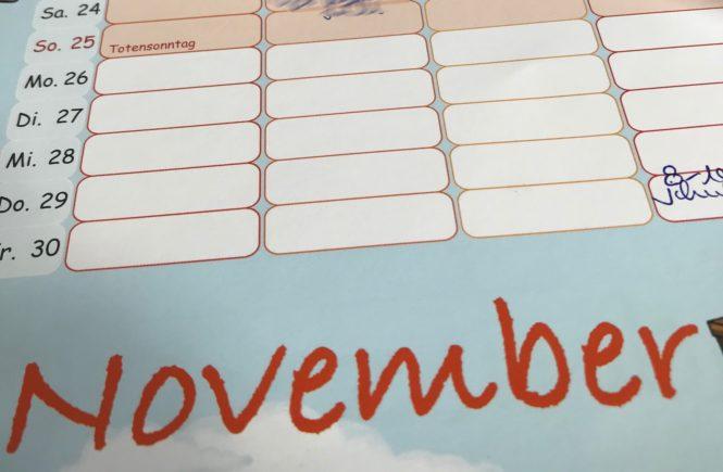 November Monatsplan Jahresplan Wochenplan Kalender Monat Jahr 2018 2019