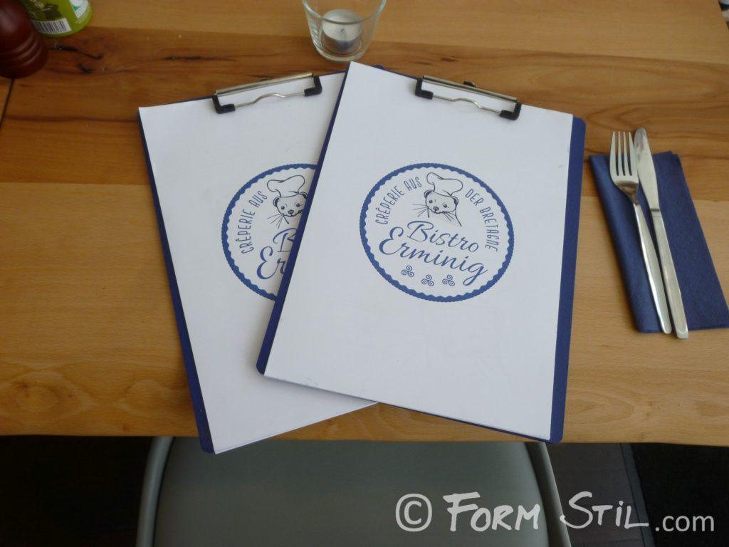 Speisekarten Bistro Erminig Frankreich Bretagne