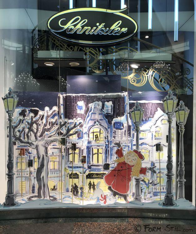Parfümerie Schnitzler Weihnachten Schaufenster Deko