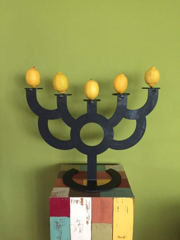 Zitronen Kerzenständer gelb bunt grün Design